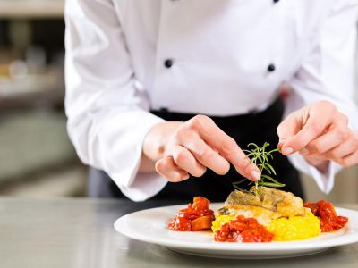 Chef Hand On Plate